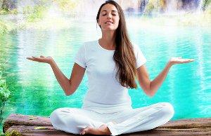 Woman Doing Spiritual Healing By The Beautiful Water